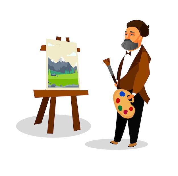 Homme créatif peindre avec une barbe grise au béret.
