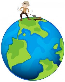 Homme creusant la terre