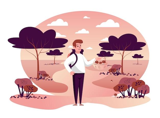 Homme cueillant des champignons dans une scène isolée du parc automne