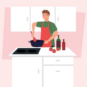 Homme cuisinant à l'aide d'un tablier, sur une scène de cuisine avec des fournitures et des légumes