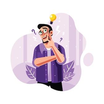 Un homme curieux et trouver idée