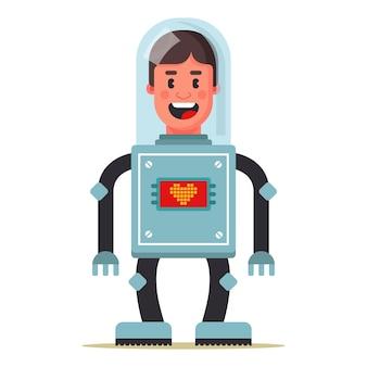 Homme cyborg. chef de greffe. prolongation de la vie. illustration vectorielle de caractère plat.