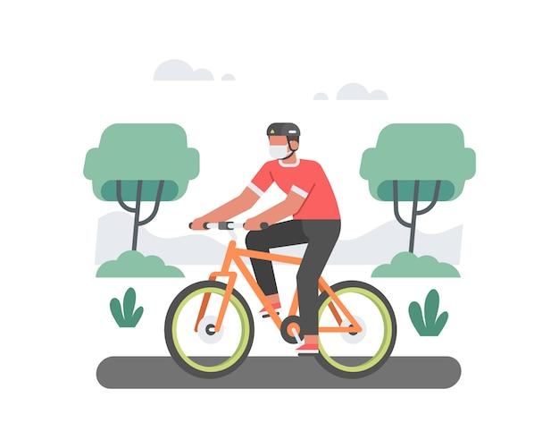 Un homme cycliste monter son vélo tout en portant un casque et un masque facial illustration