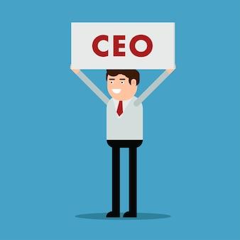 Homme d'affaires avec une affiche et une inscription PDG