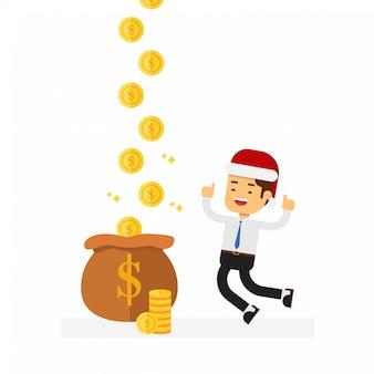 Homme d'affaires de Noël gagne plus d'argent