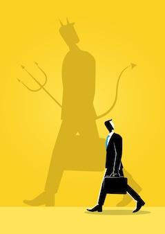 Homme d'affaires et son ombre maléfique