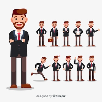 Homme d'affaires faisant différentes actions