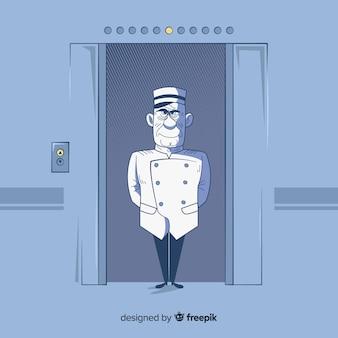 Homme dans l'ascenseur