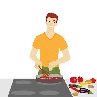 L'homme dans la cuisine l'homme végétarien prépare la nourriture à partir de légumes cuisson illustration vectorielle stock