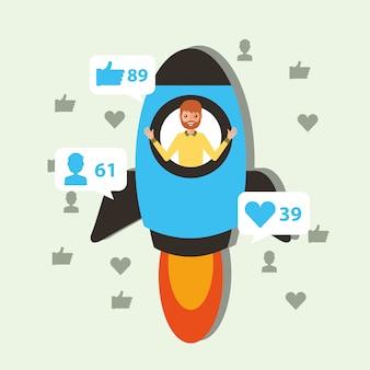 Homme dans la fusée commencer contenu viral