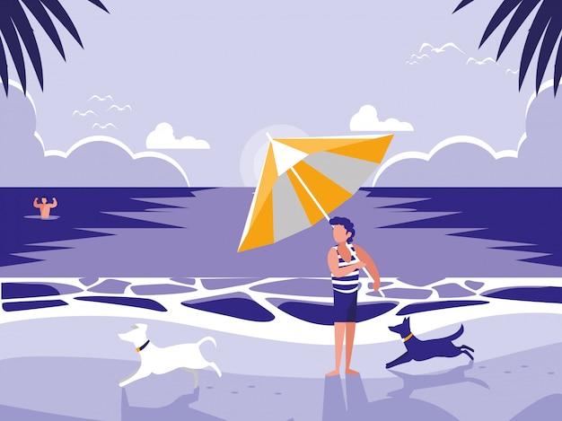 Homme dans une scène de paysage marin de plage tropicale