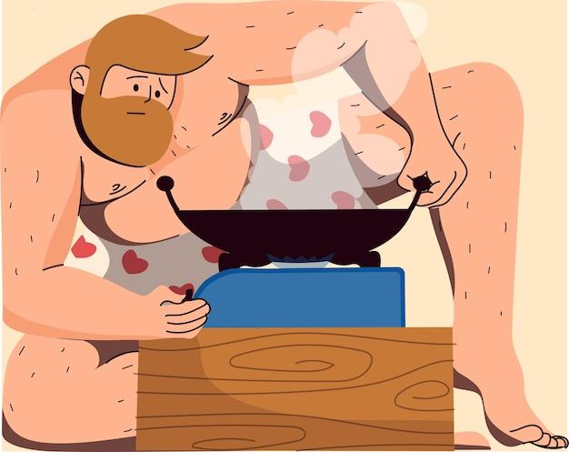 Homme, dans, sous-vêtements, cuisine