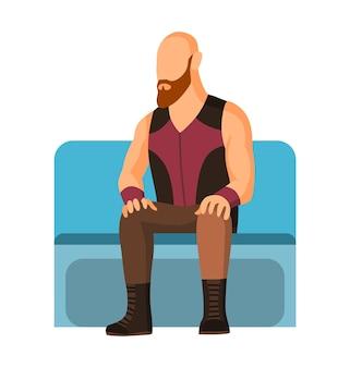L'homme dans la voiture de métro de métro. transports publics, métro urbain en transport en commun avec passager assis. concept de design.