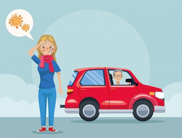 Homme, dans voiture, polluant, et, girl, malade, scène