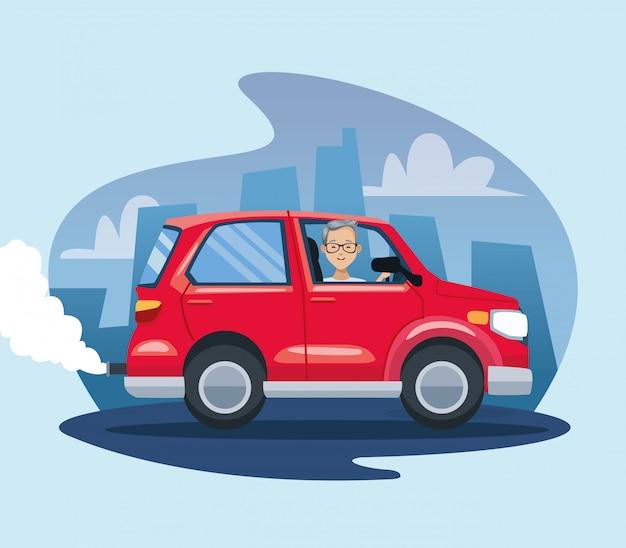 Homme, dans voiture, pollution, scène