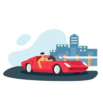 Homme dans la voiture de sport avec bâtiment