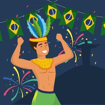 Homme, danseur, à, déguisement, et, fête, brésil