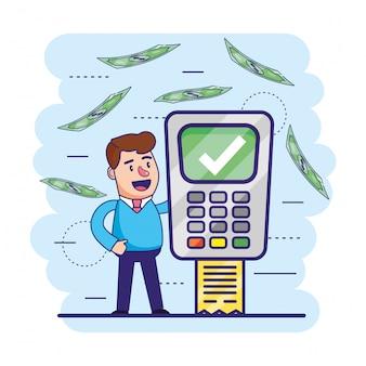 Homme avec un dataphone numérique et des informations sur les transactions