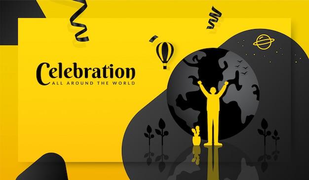 Homme debout devant la terre, concept de célébration