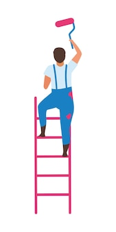 Homme debout sur une échelle avec un rouleau à peinture avec un caractère vectoriel de couleur semi-plat