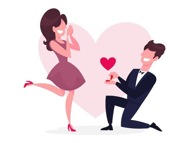 Homme debout sur le genou et faisant la demande en mariage