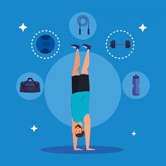 Homme debout sur les mains avec des icônes de sport, exercice de loisirs sportifs