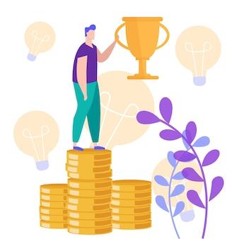 Homme debout sur une pile de monnaie avec coupe du champion à la main.