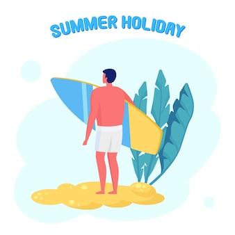 Homme debout avec planche de surf. surfer en tenue de plage sur la plage. surfeur drôle. vacances d'été, vacances, sports extrêmes. concept de surf.