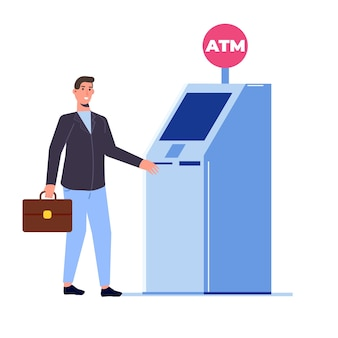 Homme debout près d'un distributeur automatique. illustration vectorielle de style plat.