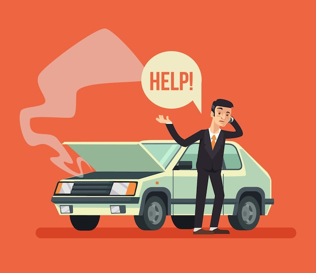 Homme debout près de la voiture cassée et appelant, illustration de dessin animé plat