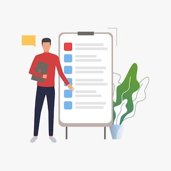 Homme debout sur un tableau à feuilles mobiles avec liste