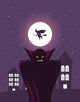 Homme déguisé de vampire en scène d'halloween