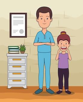 Homme dentiste avec une patiente et des soins dentaires