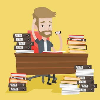 Homme de désespoir travaillant au bureau
