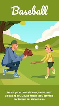 Homme de dessin animé de bannière de baseball enseigner à un garçon à jouer