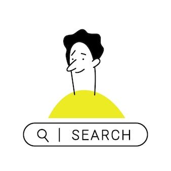 Homme de dessin animé de contour. homme curieux avec barre de recherche, à la recherche de quelque chose sur internet. affaires, recherche, recherche, développement, concept de navigation sur le web.