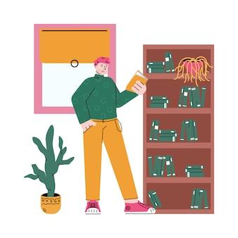 Homme de dessin animé debout par étagère et lecture d'un livre par des meubles de maison confortables