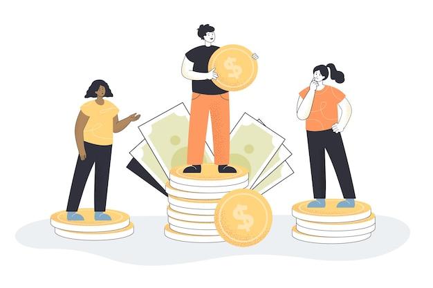 Homme de dessin animé debout sur une pile de pièces de monnaie plus élevée que les femmes