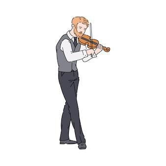 Homme de dessin animé jouant du violon sur blanc.