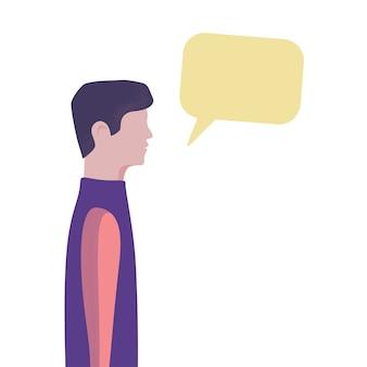 Homme de dessin animé parlant sur le concept de médias sociaux. illustration plate de bulle de discours de chat