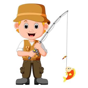 Homme de dessin animé de pêche