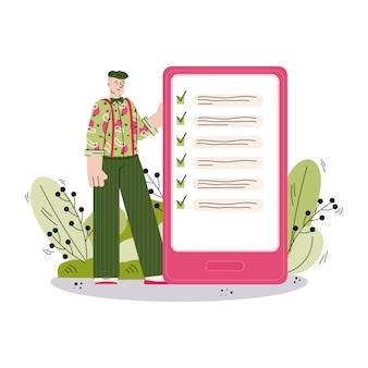 Homme de dessin animé regardant fini pour faire la liste sur l'écran du smartphone et souriant