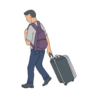 Homme de dessin animé s'éloignant avec valise à bagages et sac à dos.