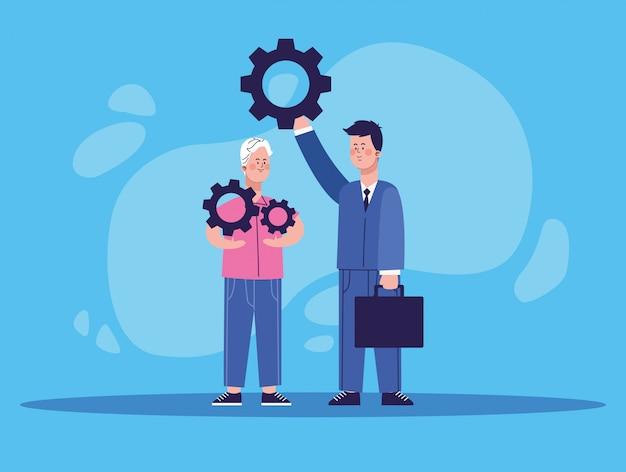 Homme de dessin animé tenant une roue dentée et homme d'affaires brandissant une roue dentée
