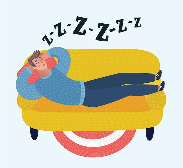 Homme de dessin animé de vecteur dormant sur le canapé