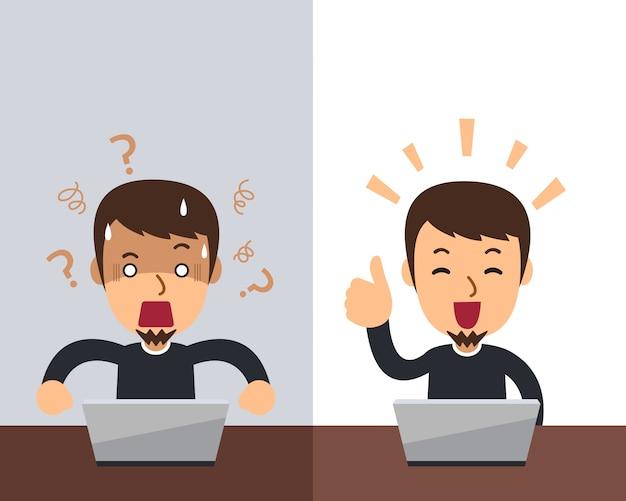 Homme de dessin animé de vecteur exprimant des émotions différentes