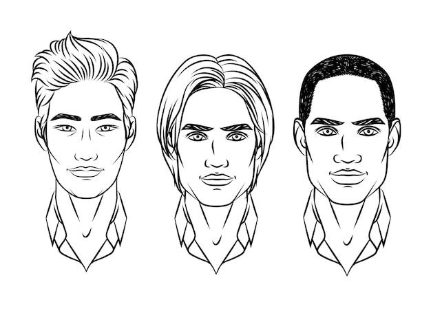 Homme de dessin animé visages ensemble