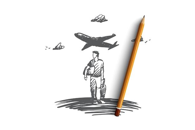 Homme dessiné main avec avion bagages sur croquis de concept d'arrière-plan