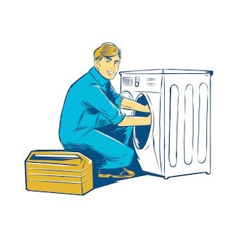 Homme dessiné à la main réparant une machine à laver