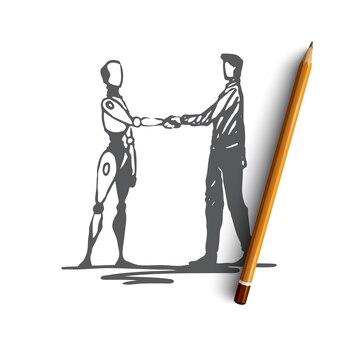 Homme dessiné à la main avec robot